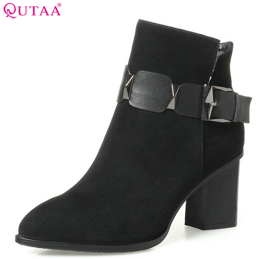 QUTAA 2018 Women Ankle Boots Cow Suede Fashion Square High Heel Zipper Design Pointed Toe High Quality Women Boots Size  34-42 цены онлайн