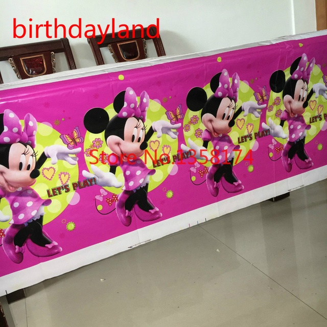 180108cm 1pcs Minnie Mouse Plastic Tablecloth for kid birthday
