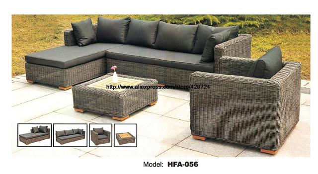 Dark Gary Rattan Sofa Classic L Shaped Vine Sofa Chair Table Furntiure Set Garden  Outdoor Patio