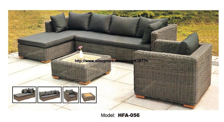 dark gary rattan sofa classic l shaped vine sofa chair table furntiure set garden outdoor patio furniture low price furniture