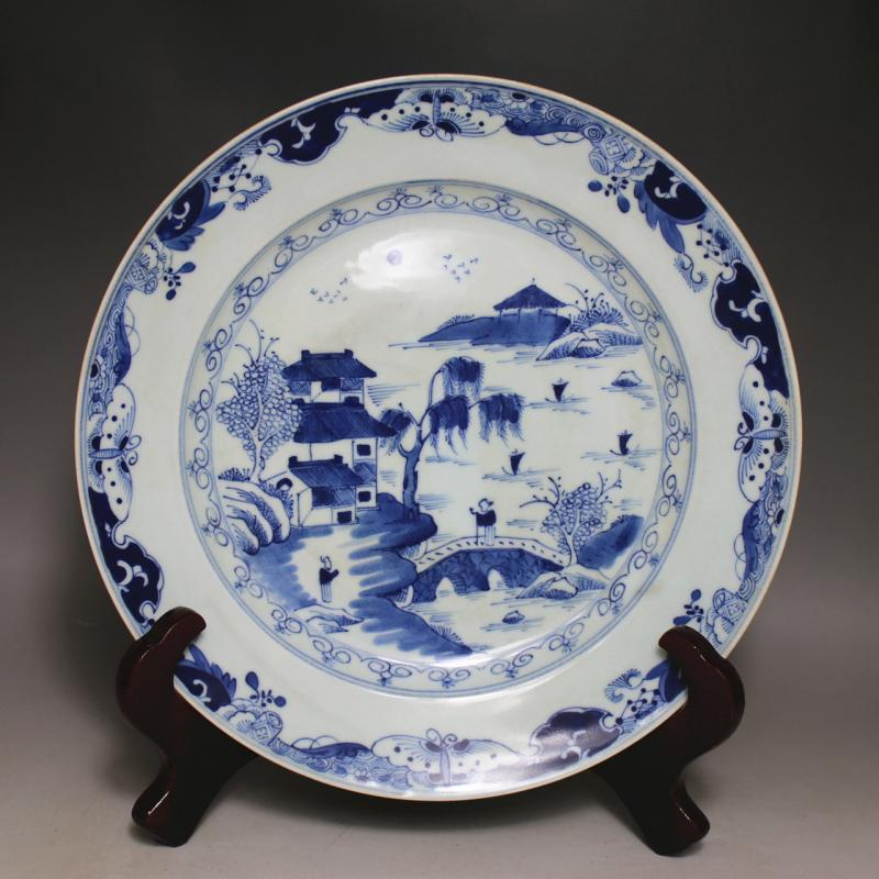 Blue and white landscape character dish plate chinese porcelain vintage home decor crafts - Vintage home decorating collection ...