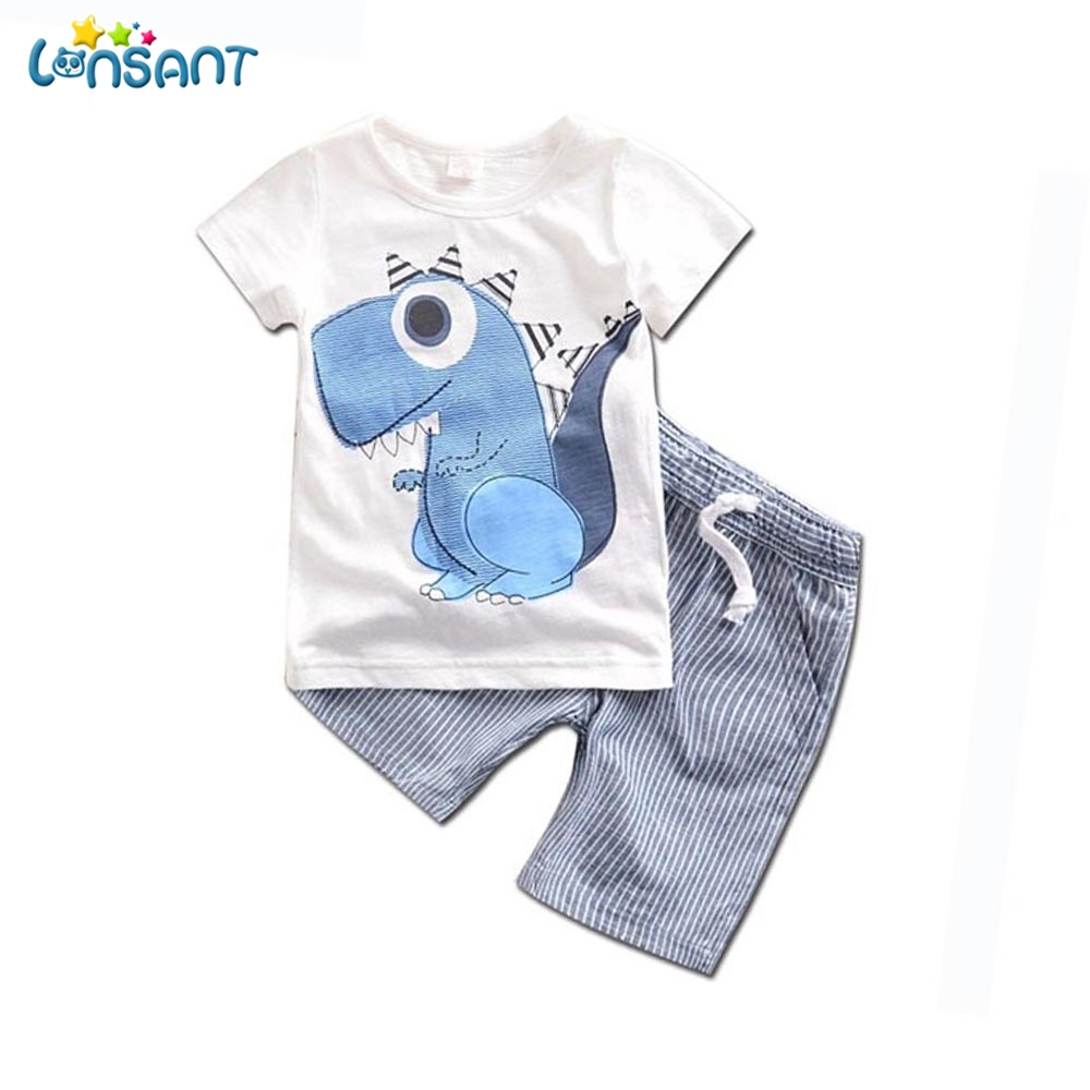 LONSANT Kid Boys Clothes Summer 2018 Children Clothing Dinosaur Cartoon Cotton T-shit Striped Shorts Spots Suit Set Dropshipping lonsant clothing sets children winter