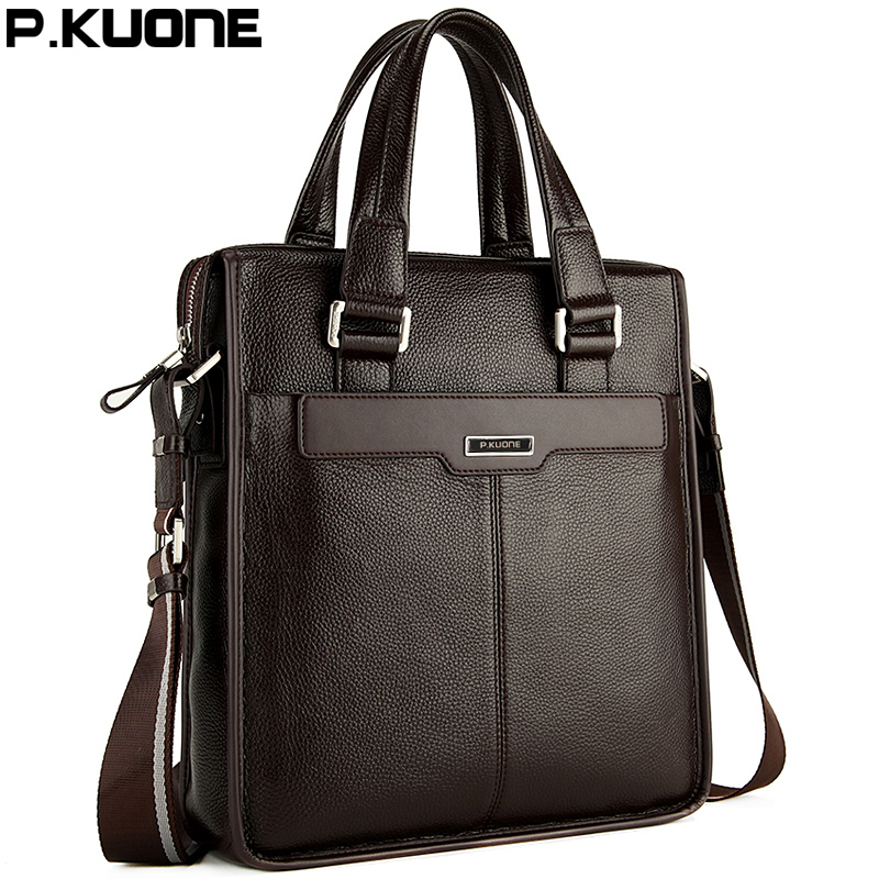P.KUONE Brand Fashion Handbag Genuine Leather Men's Messenger Shoulder Bag Gentleman Business Bag Real Leather Men Crossbody Bag genuine leather men travel bab shoulder bag gentleman business bag real leather men crossbody bag brand fashion handbag