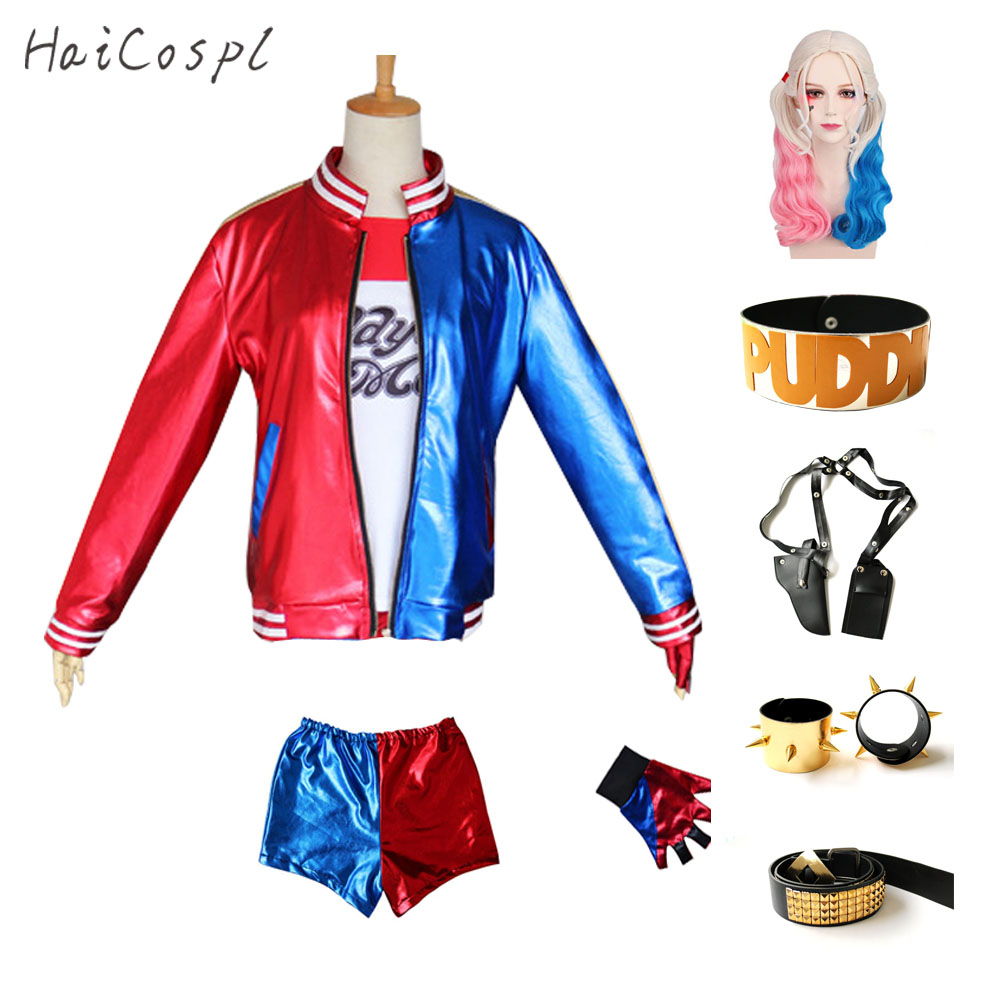 Harley Quinn Outfit Women Cosplay Costumes Jacket T Shirt Shorts Anime Party Suit Female Fancy Halloween Fantasias Adults-in Movie & TV costumes from Novelty & Special Use    1