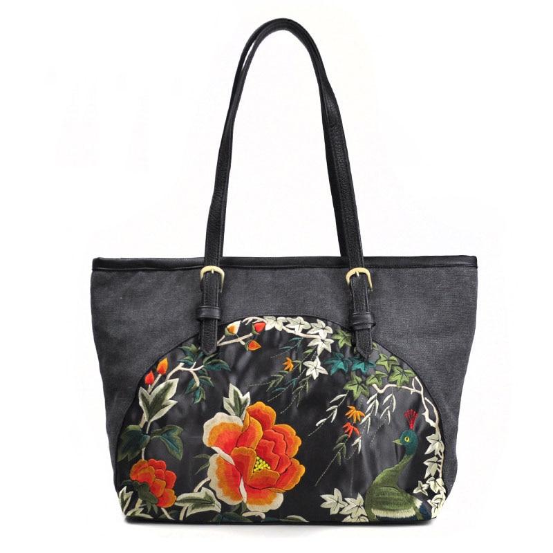Women Shoulder bag National handbags Canvas Female shoulder Black Travel bags  womens Casual Tote 2019 Fashion