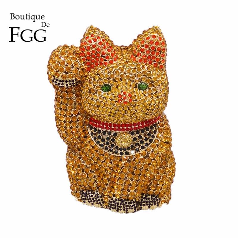ФОТО Unique Design Dazzling Crystal Fortune Cat Shape Women Gold Evening Bag Wedding Party Metal Clutches Purses Bridal Clutch Bag