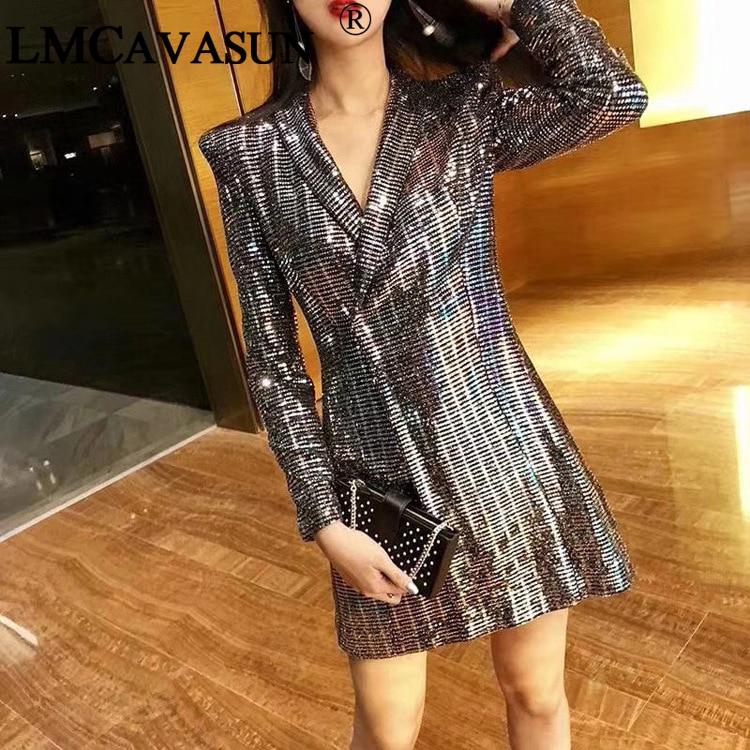 LMCAVASUN 2018 Spring New Women Bling Sequined Party Long Blazer Dress  Elegant Slim Fit Lapel Collar f902a7cc1659