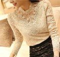 Free shipping 2015 Spring Autumn Women Crochet White Blouse Lace Chiffon Shirt Basic Shirts Vintage Blusas Femininas Blouses Top