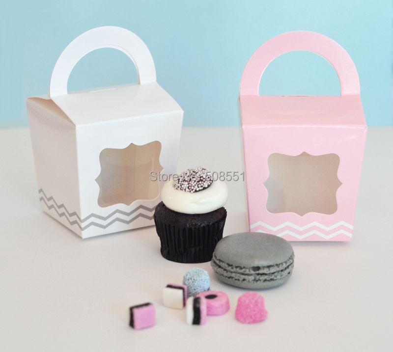 Four Colors Handle Single Cupcake Boxesbox And Packaging Of Cake
