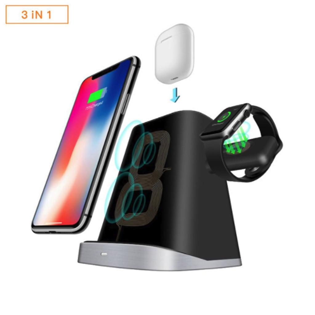Chargeur 3 en 1 pour iPhone X S MAX XR 8 7 chargeur sans fil de bureau pour Apple Watch 4 3 2 pour Air Pods Station de chargement Dock