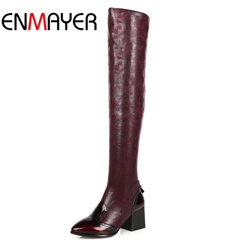 ФОТО ENMAYER New Over-the-Knee Boots Sexy Platform Shoes Women Pointed Toe High Square Heel Winter Long Boots Black Women's Shoes