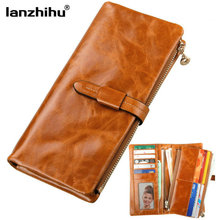 100% Women Wallets Genuine Leather Vintage Money Long Zipper Coin Purse Female Clutch Cowhide Woman Leather Wallet Credit Cards