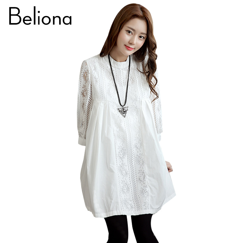 Formal White Maternity Lace Dress Summer Blouse Office Lady Maternity Clothes for Pregnant Women High Quality Pregnancy Clothing