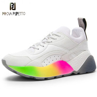 Prova Perfetto New Style Genuine Leather Lace up Casual Shoes in women's Vulcanized Shoes Woman Rainbow Platform Flats Sneakers