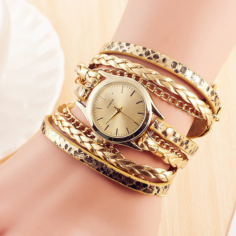 Hot Sale New Fashion Retro Leather Quartz Watch Women Dress Weave Bracelet Watches Cheap Wholesale Relogio Feminino Relojes Muje 2016 new brand fashion retro style men dress quartz leather rivets bracelet watches women crystal casual relogio feminino watch