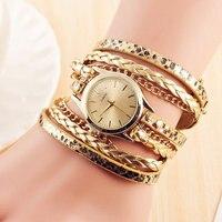Hot Sale Geneva New Fashion Retro Women Dress Watches Leather Quartz Watch Weave Bracelet Watch Relogio
