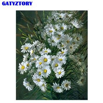 Gatyztory 꽃 diy 그림 캔버스에 번호 아크릴 페인트로 손으로 그린 유화 홈 월 아트 그림에 대한 독특한 선물