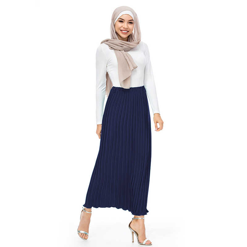 2f24da64d5 ... Buytiz UAE Chiffon Pleated Musulman Long crepe Skirts High Waist Muslim  Skirt Women Abaya Dubai Arabic ...