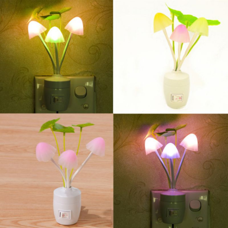 Novelty LED Mushroom Fungus Night Light EU & US Plug Light Sensor 220V Colorful Mushroom Lamp Led Night Lights