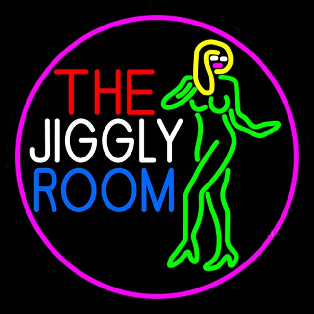 Neon Sign For The Jiggly Room With Girl Strip Girl With -5929