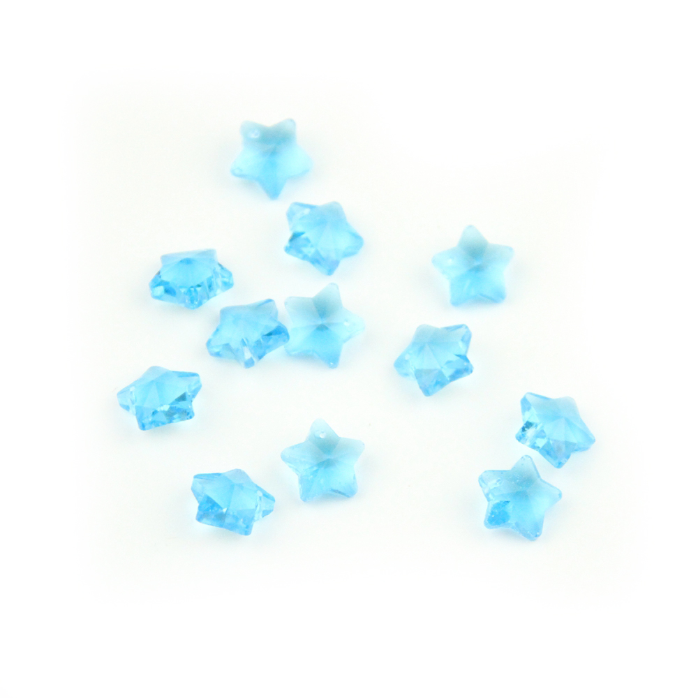 Aquamarine 14mm Crystal Five Stars Beads 100-2000pcs In One Hole For Wedding Home Decoration Five Stars Shape