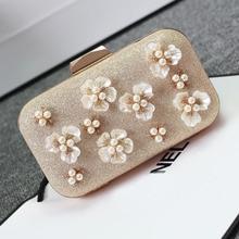 UNstyle 2016 Korean Diamond Flower Evening Bags Female Clutches Bags Handbag Women Shoulder Bag Pearl Luxury