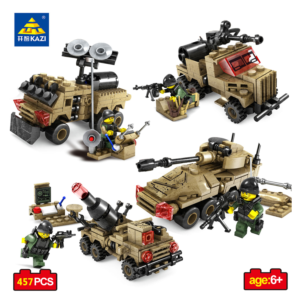 KAZI Toys Military Weapon Building Blocks Compatible Legoed City 4 In 1 Tank Armored Vehicles Car Action Figures Educational Toy