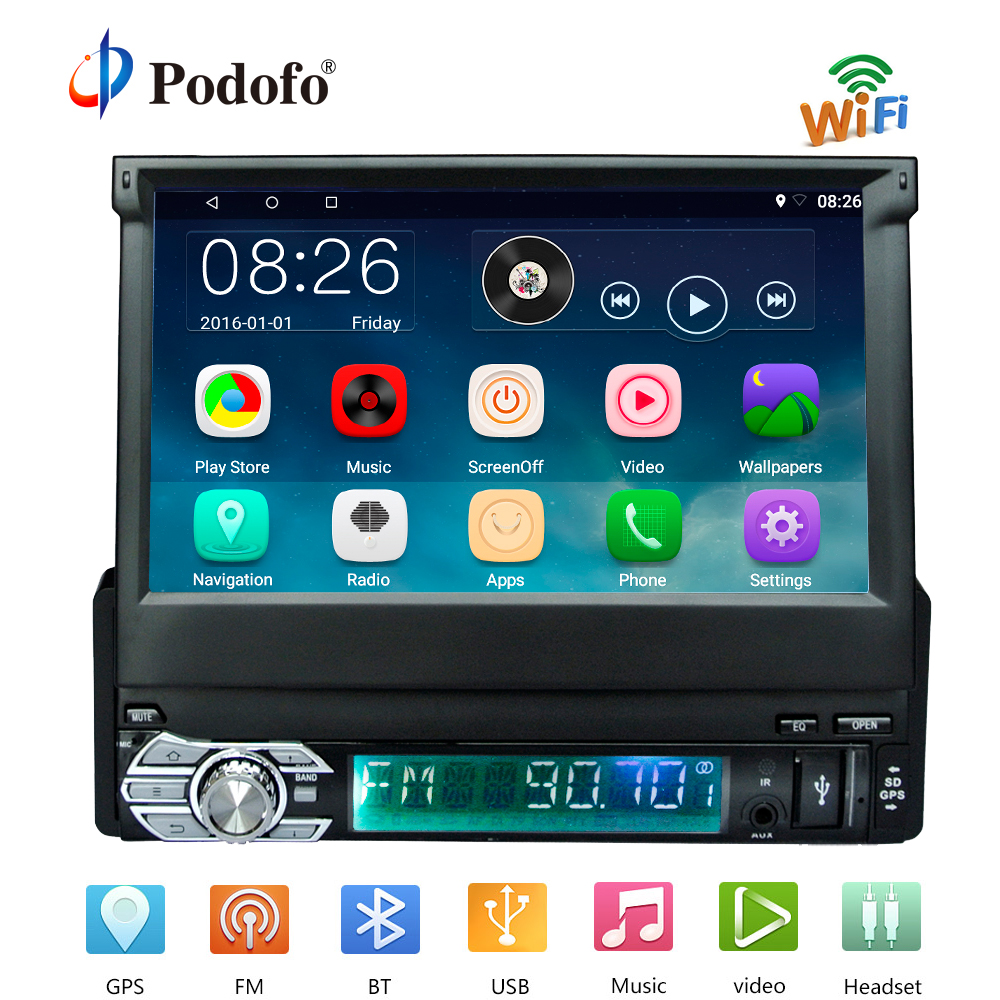 Podofo1 Din Android Car Radio Wifi Bluetooth Multimedia Players GPS Navigation 7 inch Retractable Touch Screen Auto Video Audio