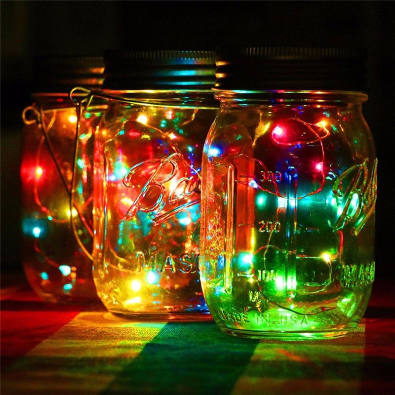 Colorful Solar Energy Wall Lamp Mason Cap Lamp LED Lights String Party Wedding Decoratio ...