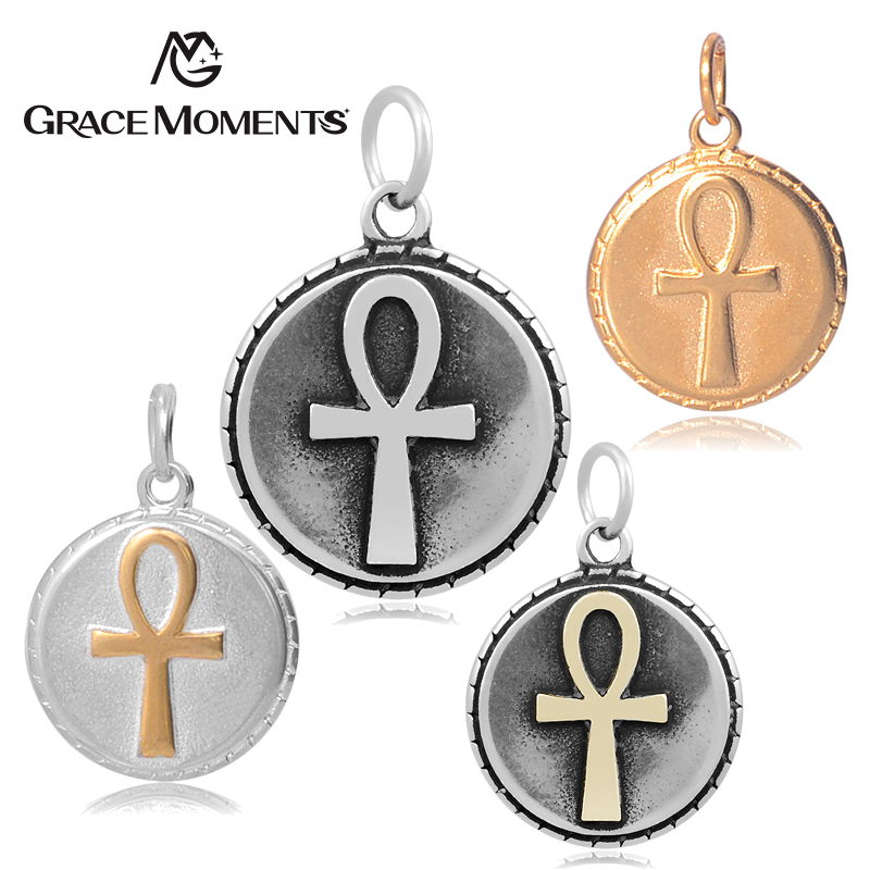 5pc/lot GRACE MOMENTS Four Colors Stainless Steel Charm Round Shape Vintage Egypt Cross Charms DIY Making Jewelry Gift Accessor