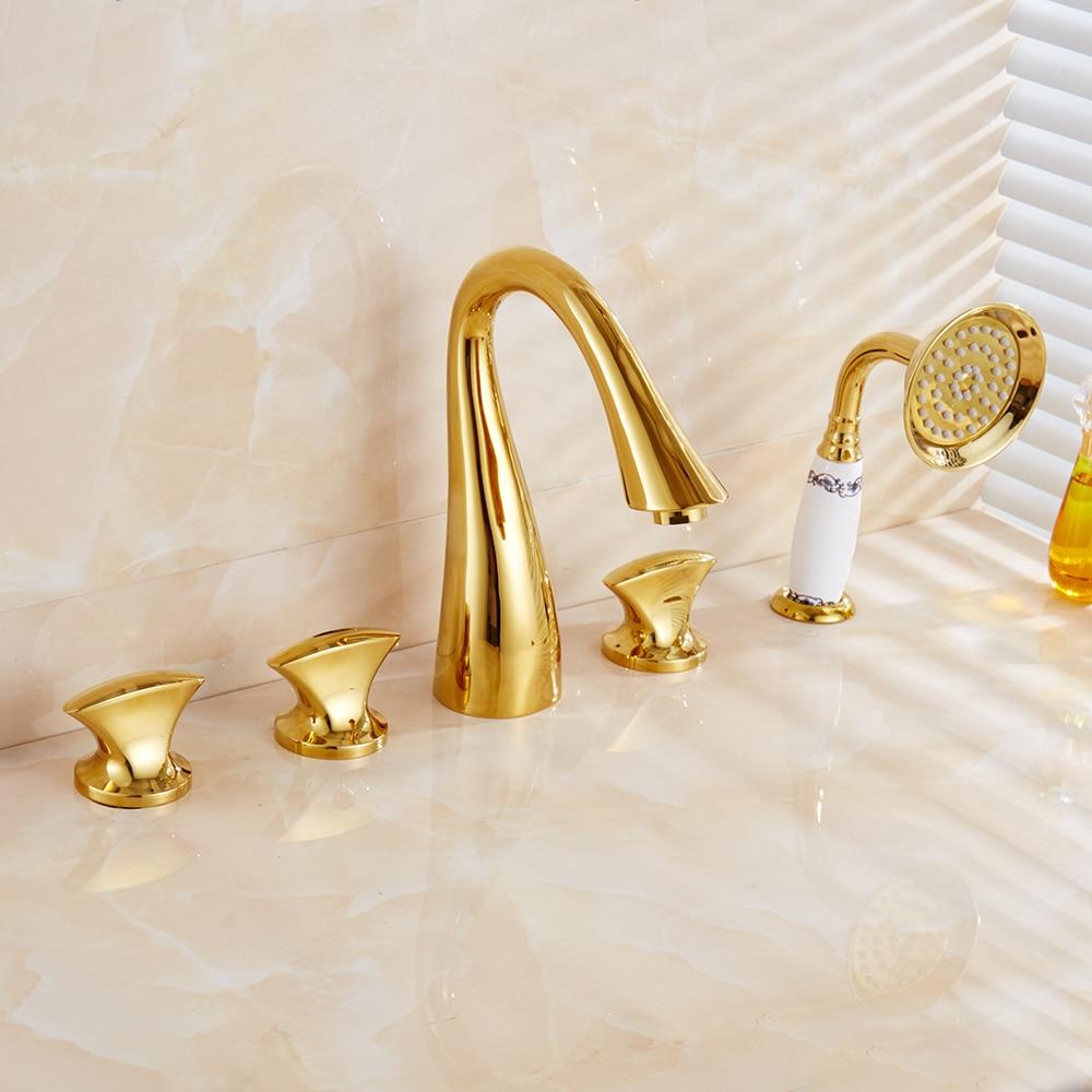 Banheira Torneiras Latão Acabamento Dourado Luxo 5 Facucet Bacia Buraco Torneira Do Banheiro Conjunto Chuvas Chuveiro Chuveiro de Mão Misturador Quente e Frio torneiras - 4