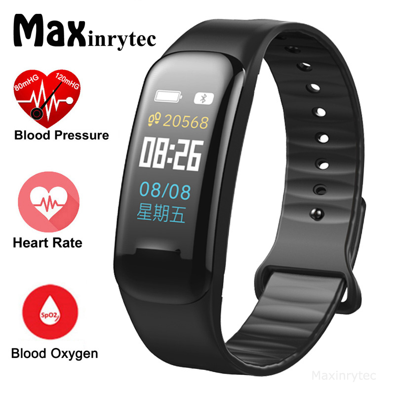 Farbe Bildschirm C1Plus Smart Armband Blutdruck Wasserdichte Fitness Tracker Heart Rate Monitor Smart Band für Android IOS PK F1