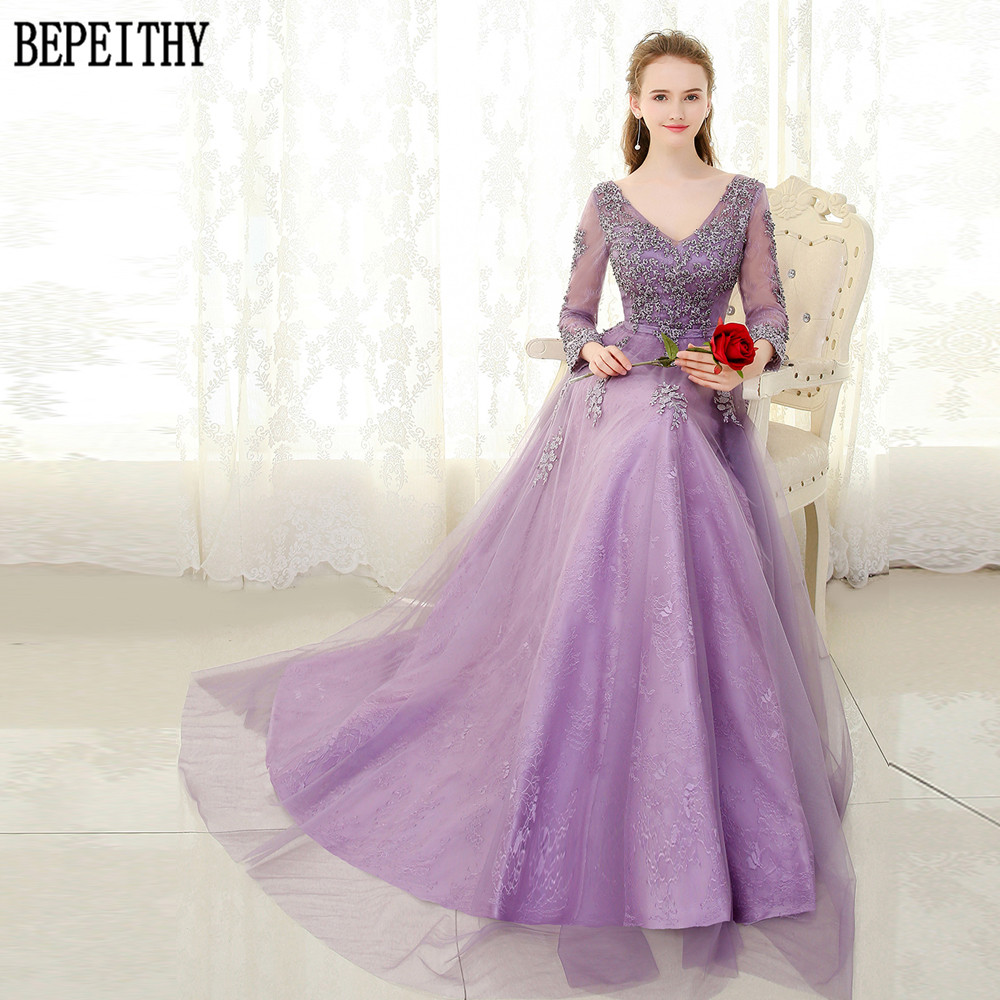 BEPEITHY Vestido De Festa Lavender A-Line Tulle V-Neck Beads Appliques   Evening     Dress   Party Elegant Long Prom Gown 2017
