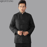 Black Winter Thicking Outerwear Traditional Chinese Style Men Padded Jacket Long Sleeve Coats Chaqueta Size S