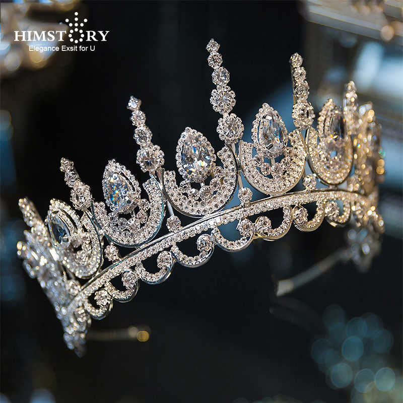 Himstory Noble Beauty Princess Tiara Cubic Zircon Wedding Bridal  Crown Rhinestone Pageant Crown For Brides Headbands