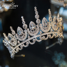 Himstory Noble Beauty Princess Tiara Cubic Zircon Wedding Bridal  Crown Rhinestone Pageant For Brides Headbands