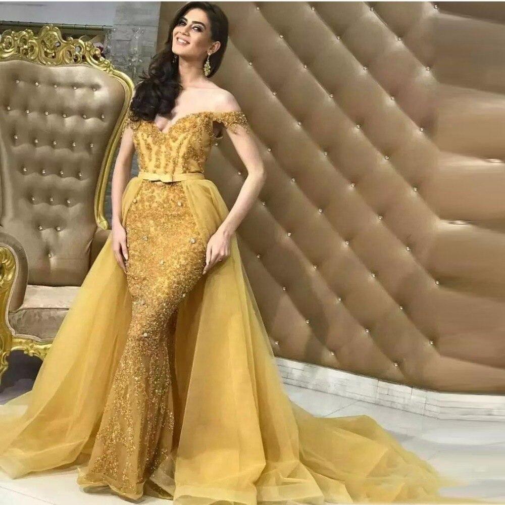 Avec Formelle Soirée Cristal Détachable Nouveau 2018 Or Train Arabe Sirène Perlé Brillant Luxe De Arabie Robe Robes Partie g0wqxZp