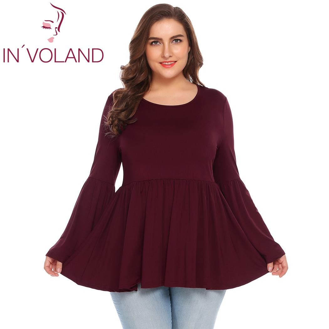 IN'VOLAND Large Size Women Vintage T-Shirts Tops L-3XL 2018 Spring Autumn Ruffled Large Pullovers Solid Tees Tshirt Oversized