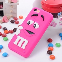 Free Shipping 3D Cute New Silicone M M Chocolate Case For Iphone 5C M Rainbow Cartoon