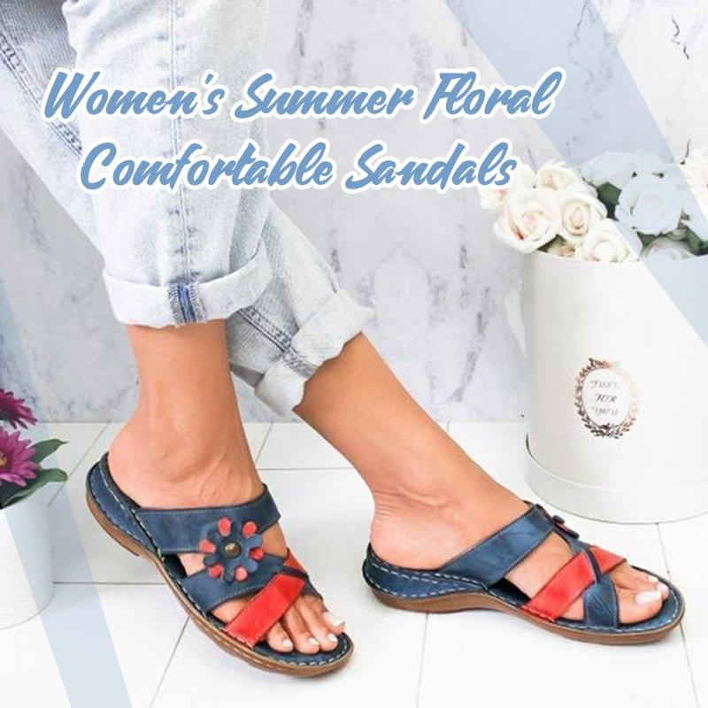 Women's Summer Floral Comfortable Sandals Gladiator Sandals Ladies Strap Slippers Roman Female Flip Flops Outdoor Sandals Cusion