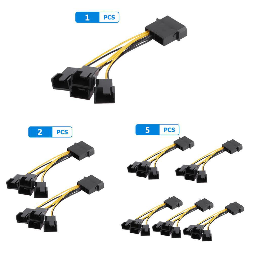 5pcs D-Port Computer CPU PC Case Fan Cables 3 Pin Fan Cable 1 To 4 Ways Power Splitter Adapter Extension Cable Connector