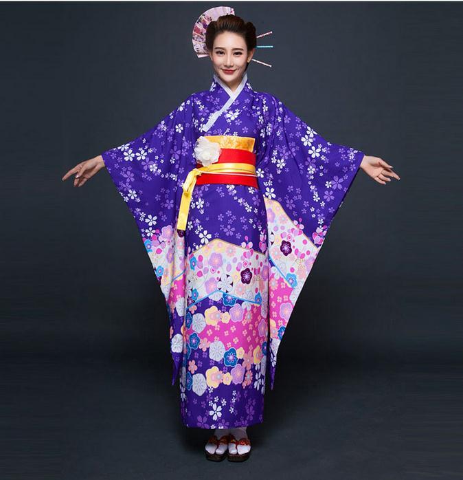 High Fashion Purple Japanese National Women Kimono Traditional Yukata With Obi Vintage Evening Dress Flower One Size JK080