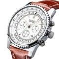 2016 Mens WatchesTop Marca MEGIR Cuarzo Se Divierte el Reloj Correa de Cuero de Lujo de moda Casual Masculina Reloj reloj relogio masculino