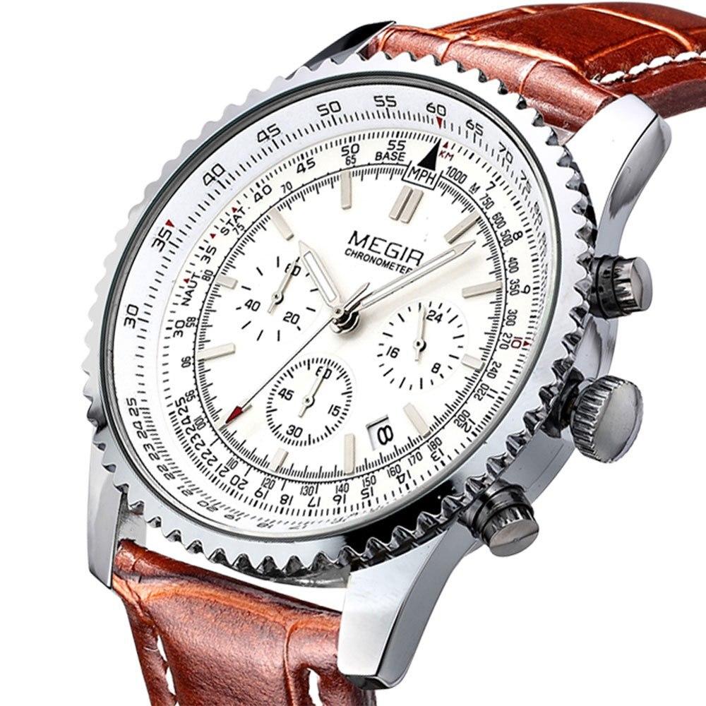 Prix pour 2016 Mens WatchesTop Marque MEGIR De Luxe mode Casual Quartz Sport Montre-Bracelet Bracelet En Cuir Mâle Horloge montre relogio masculino