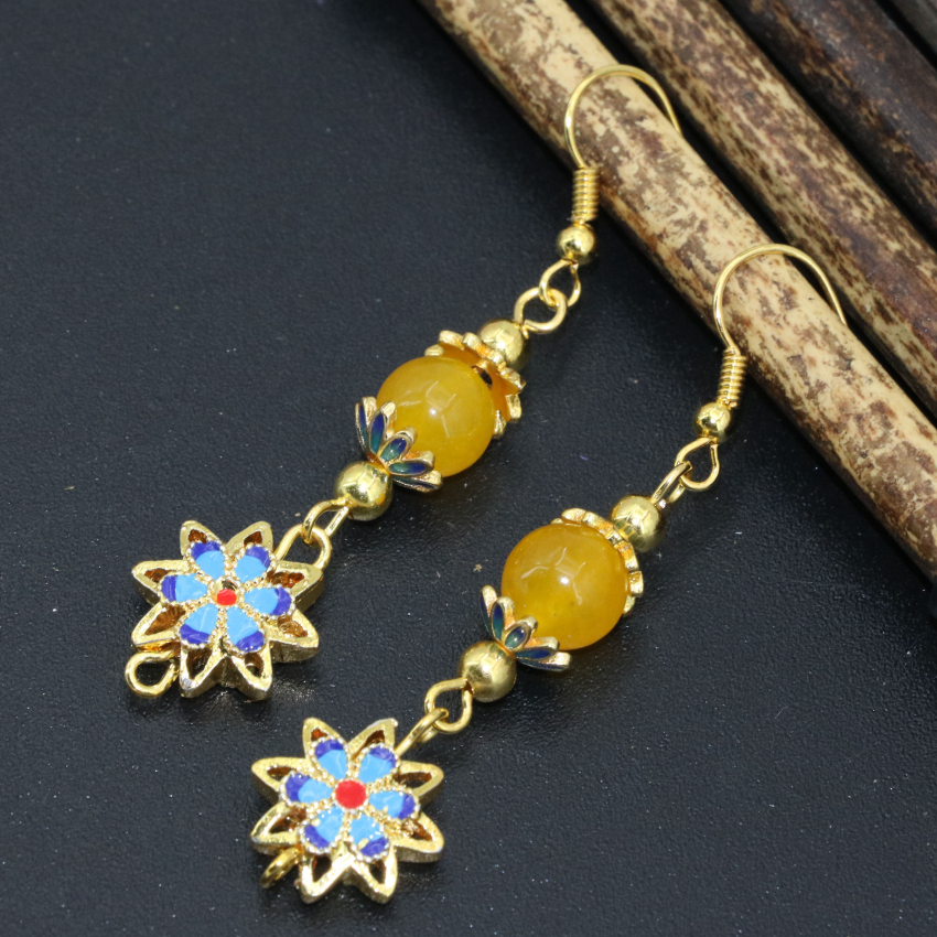 Pretty gold-color drop earrings flower cloisonne stone beads ethnic style long dangle jewelry original design new arrival B2627