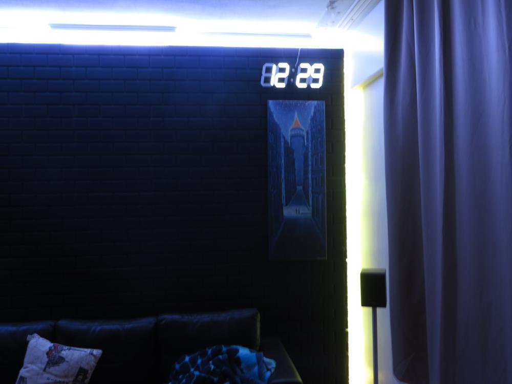 Led Rəqəmsal Divar Saatı Böyük LED Ekran Uzaqdan Nəzarət Geri - Ev dekoru - Fotoqrafiya 4