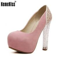 KemeKiss נשים נעלי חתונה פלטפורמת גברות עקבים גבוהים 2016 גביש מותג אופנה משאבות עקב נשי נעלי Zapatos גודל 35-39