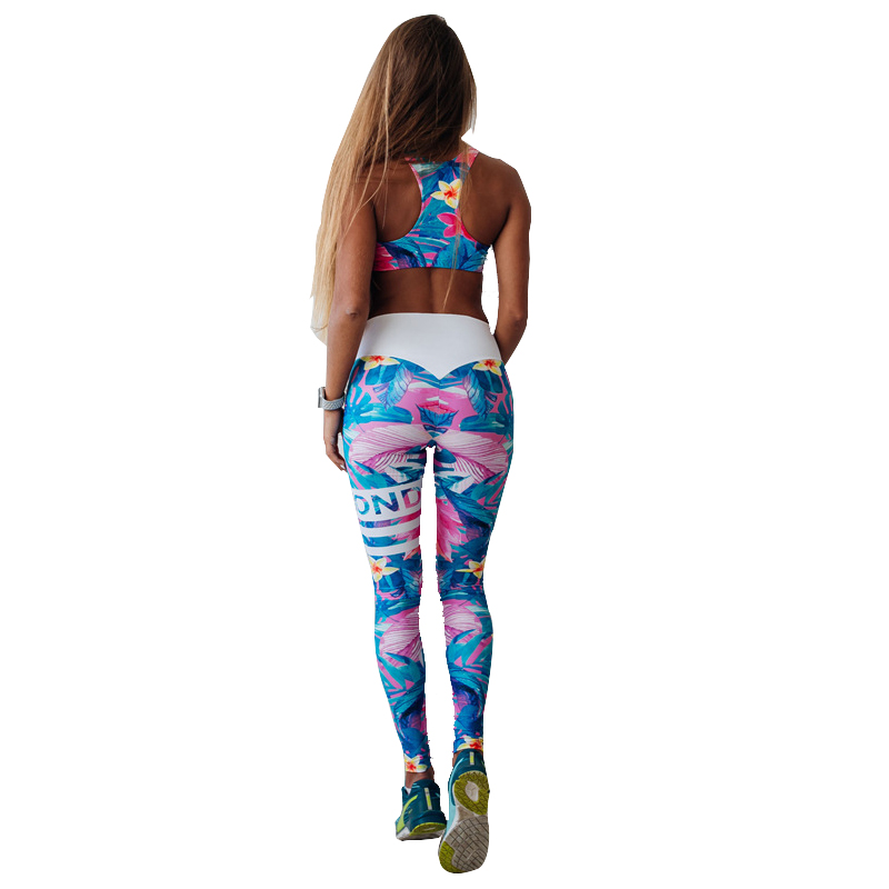 Floral Print Fitness Women Yoga Set Sport Bra and Legging Pants 2 Piece Women Suits Sexy Elastic Push Up Slim Yoga Sportswear fatu 2018 women outfit clothes v neck top flare pants fashion new woman blouse and flares knitwear slim sasual women 2 piece set