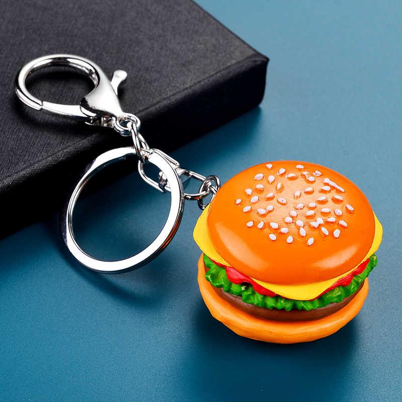 JWEIJIAO Hamburger Móc Khóa DIY Mô Phỏng Tay Phụ Kiện Điện Thoại Di Động Vỏ Túi Mặt Dây Chuyền Nhựa Thực Phẩm Vật Trang Trí DS27