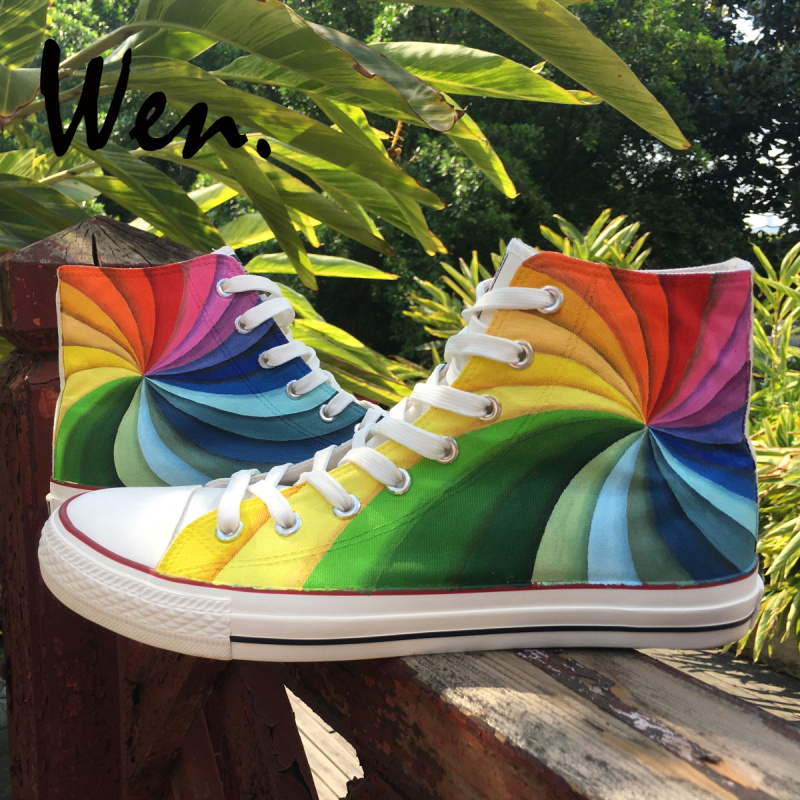 Wen Original Design Custom Hand Painted Shoes Rainbow Color Vortex High Top  Flats Lace Up Canvas Sneakers for Men Women s Gifts 6127b2946bec